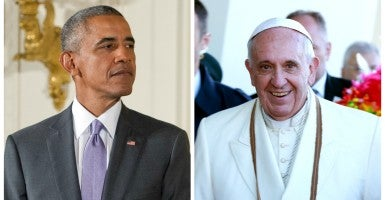 The Vatican isn't thrilled about who the Whtie House invited to greet Pope Francis. (Photo of  Pope Francis: Noah Friedman-Rudovsky/Polaris/Newscom and photo of  President Obama: Ron Sachs/CNP / Polaris/Newscom)