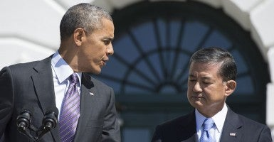 President Barack Obama and Veterans Affairs Secretary Eric Shinseki. (Photo: Kevin Dietsch/UPI/Newscom)