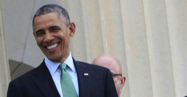 President Obama after a St. Patrick's Day lunch. (Photo: UPI/Newscom)