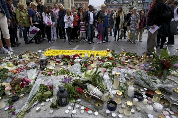 Memorial outside Parliament in Oslo, Norway, on July 25, 2011, following the massacre.