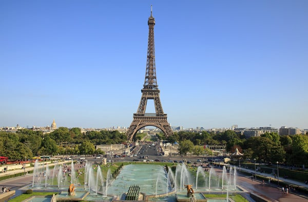 Eiffel Tower and Trocadero Gardens in Paris, France