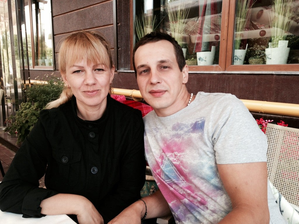 Zhanna and Konstantin Bernatovich in Kyiv (Photo: Nolan Peterson/The Daily Signal)