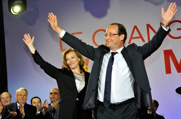 Francois Hollande, Socialist candidate to the French presidential election, celebrated his victory in Place de la Bastille