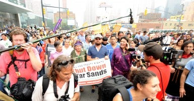 Actor Leonardo DiCaprio joined tens of thousands in the People's Climate March that began on the West Side of Manhattan at Columbus Circle. (All photos courtesy of Newscom)