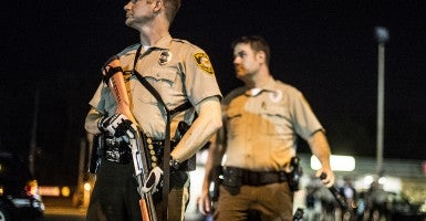 Police during the protests after the Michael Brown shooting. (Photo: Robert Stolarik/Polaris)