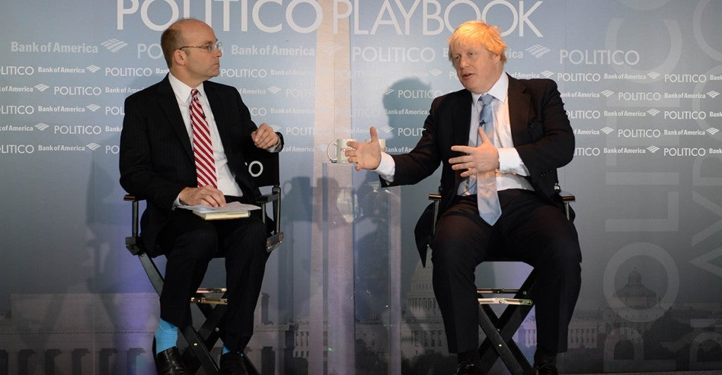 The London Mayor Boris Johnson is interviewed by Mike Allen the chief White House correspondent for Politico in an interview/discussion in front of live audience in Washington, D.C. Feb. 13. (Photo: Andrew Parsons/Polaris)