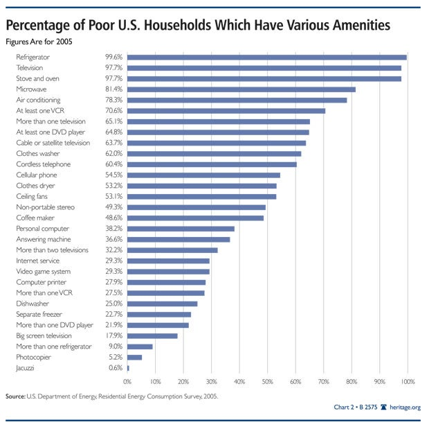 Percentage of Poor U.S. Households with Ameneities