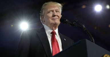 President Donald Trump is an unlikely advocate for the pro-life movement, Sean Fieler of the American Principles Project says. (Photo: Olivier Douliery/SIPA/Newscom)