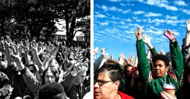 Left: Protesting students at the University of California in 1969.  Right: Protesters raise their arms to block media from taking photos during the Concerned Students 1950 protest at the University of Missouri on Monday, Nov. 9 2015. (Photo: Left - Underwood Archives/UIG Universal Images Group/Newscom Right - Michael Cali/TNS/Newscom)