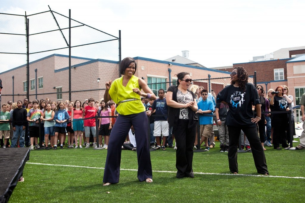 First Lady Michelle Obama attends and participates in Flash Mob Dance at Alice Deal Middle School in 2011.(Photo: Lawrence Jackson/White House/Newscom)