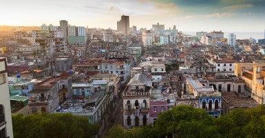 Rooftop cityscape at sunset, Havana, Cuba. (Photo: Newscom)