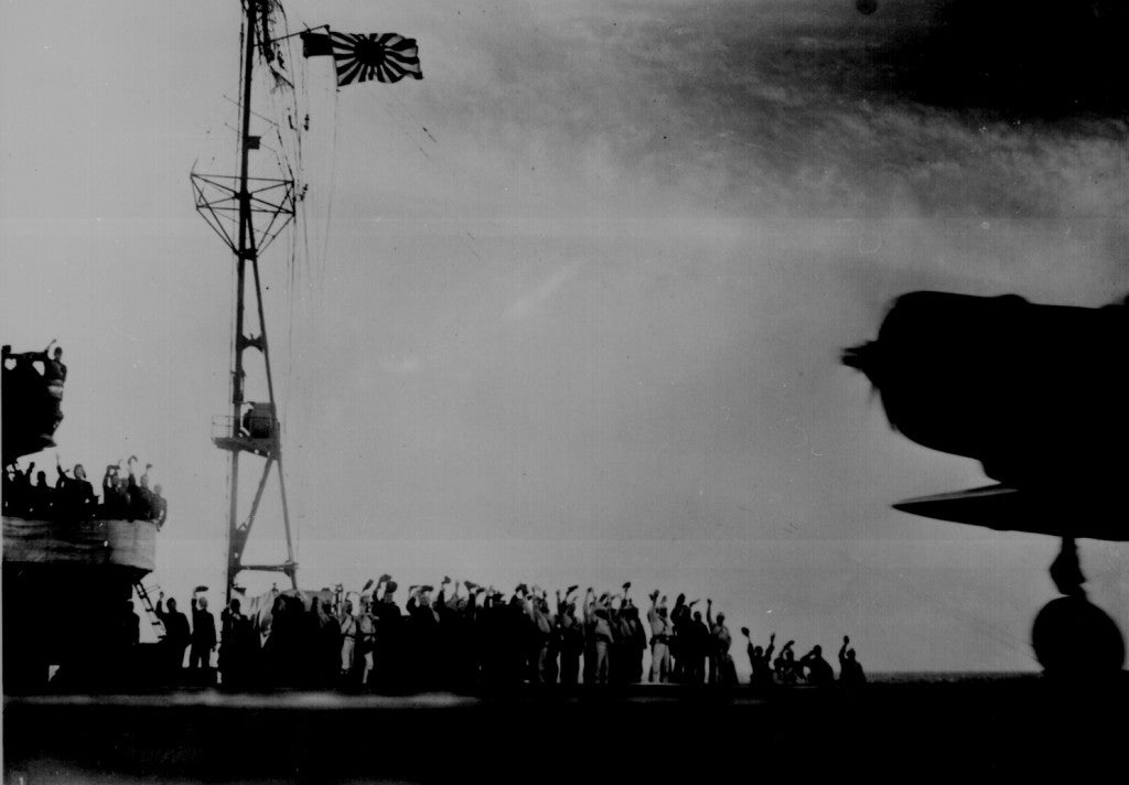 Captured Japanese photograph taken aboard a Japanese carrier before the attack on Pearl Harbor. (Photo: Newscom)
