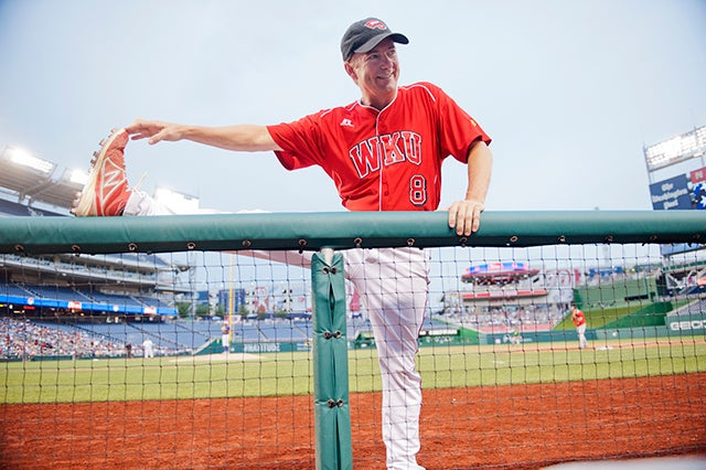 Paul stretches during the 53rd Congressional Baseball Game in Nationals Park, June 25, 2014. (Photo: Tom Williams/CQ Roll Call)