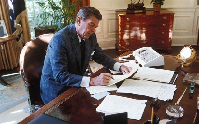 Ronald Reagan at the Oval Office