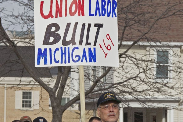 Michigan right to work union protest