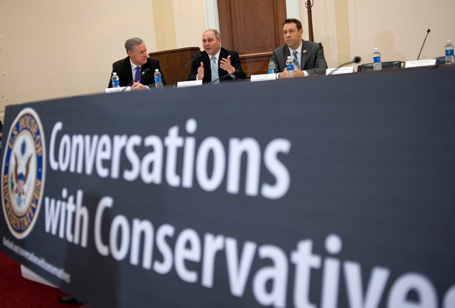 "Rep. Mark Meadows with Rep. Steve Scalise and fRep. Trey Radel, R-Fl., speak at the monthly lunch-time ""Conversations with Conservatives"" (Credit: Chris Maddaloni/CQ Roll Call/Newscom)"