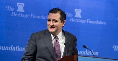 Sen. Ted Cruz, R-Texas, spoke at The Heritage Foundation on Dec. 10 about American foreign policy. (Photo: Bill Clark/CQ Roll Call)