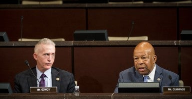 "Chairman Trey Gowdy, R-S.C., listens as ranking member Elijah Cummings, D-Md., speaks during the House Select Committee on the Events Surrounding the 2012 Terrorist Attack in Benghazi hearing on ""Implementation of the Accountability Review Board Recommendations"" on Wednesday, Sept. 17, 2014. (Photo: Bill Clark/CQ Roll Call)"