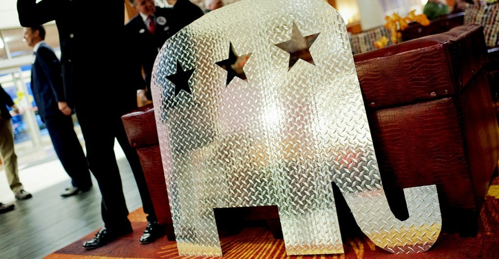 A metal cut out of an elephant sits in the bar of during a party for Kentucky Republicans  in Louisville, Ky., Nov. 4. (Photo: Tom Williams/CQ Roll Call/Newscom)