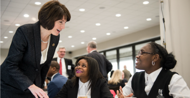 Rep. Cathy McMorris Rodgers, R-Wash., talks to Washington, D.C., charter school students. (Photo: Bill Clark/CQ Roll Call/Newscom)