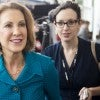 Carly Fiorina, former CEO of Hewlett-Packard, walks the hallway be