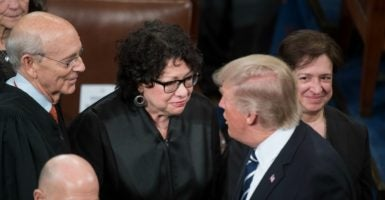President Trump greets Supreme Court Justices Stephen Breyer, Sonia Sotomayor, and Elena Kagan. (Photo:Tom Williams/CQ Roll Call/Newscom)