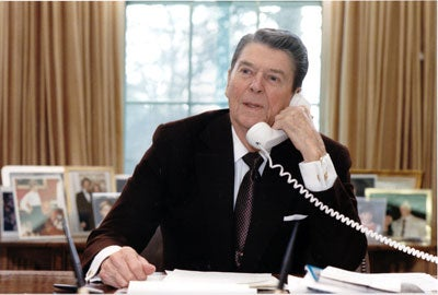 President Ronald Reagan addresses the 15th Annual March for Life by telephone