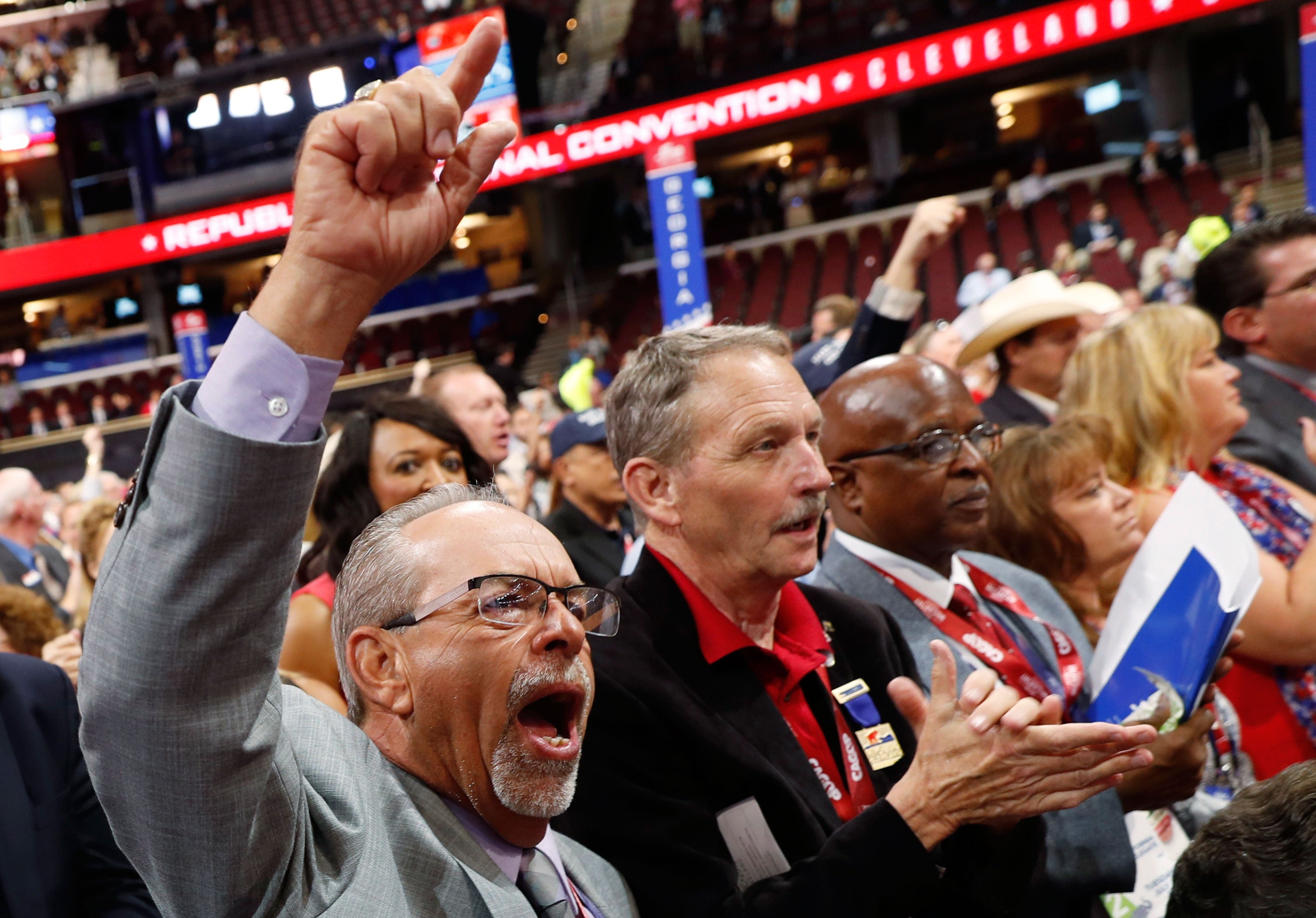 Delegates cheer during the second session of the convention on July 19, 2016. (Jonathan Ernst/Reuters/Newscom)
