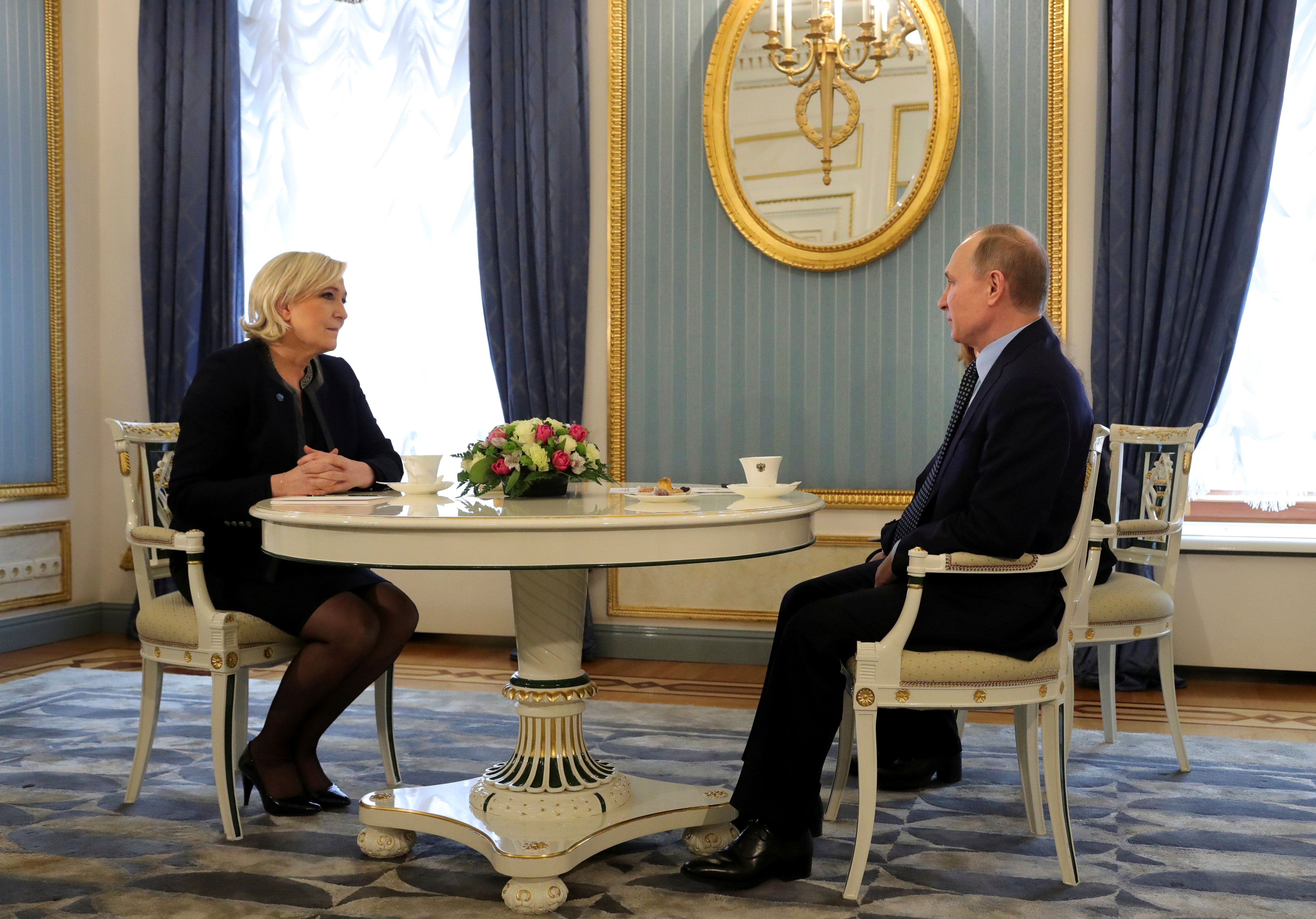 Russian President Vladimir Putin meets with Marine Le Pen, National Front party leader and candidate for the French 2017 presidential election, in Moscow, Russia, March 24, 2017. (Photo: Sputnik/Reuters/Newscom)