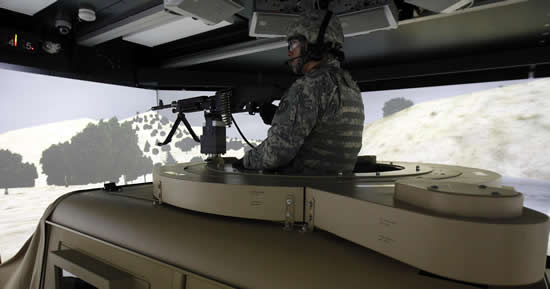 A soldier of the 2nd cavalry regiment participates in a virtual combat training on the Reconfigurable Vehicle Tactical Trainer (RVTT) at Rose Barracks in Vilseck-Grafenwoehr January 25, 2012.