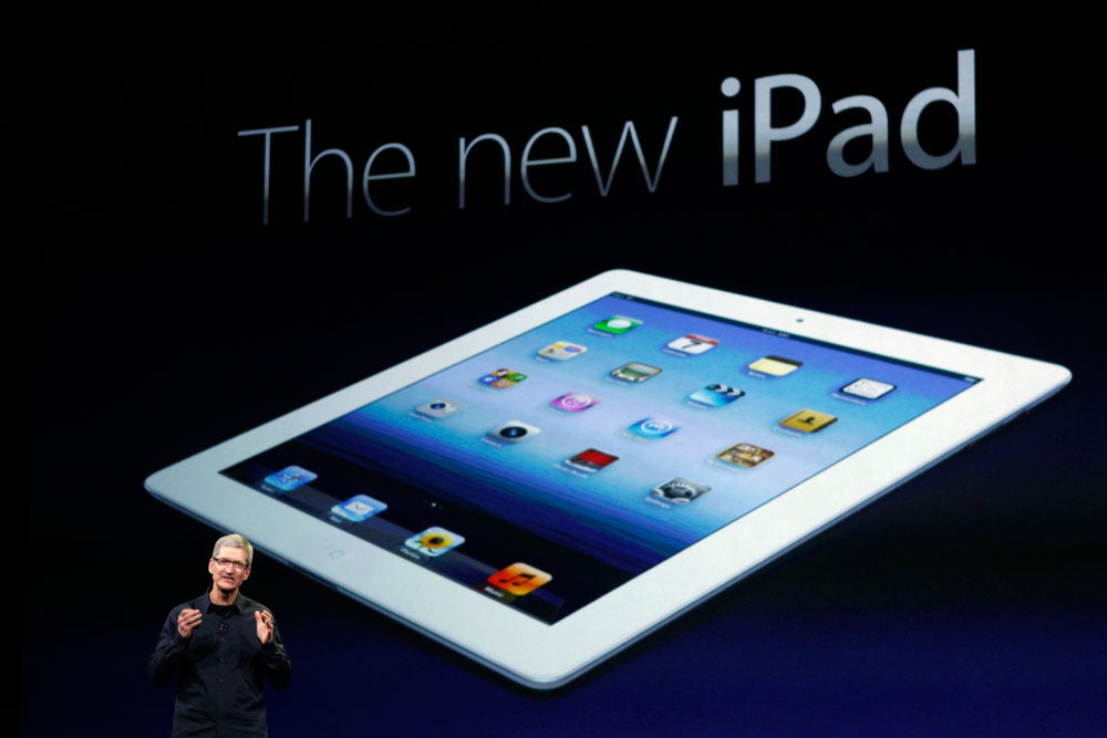 Apple CEO Tim Cook speaks introduces the new iPad in San Francisco