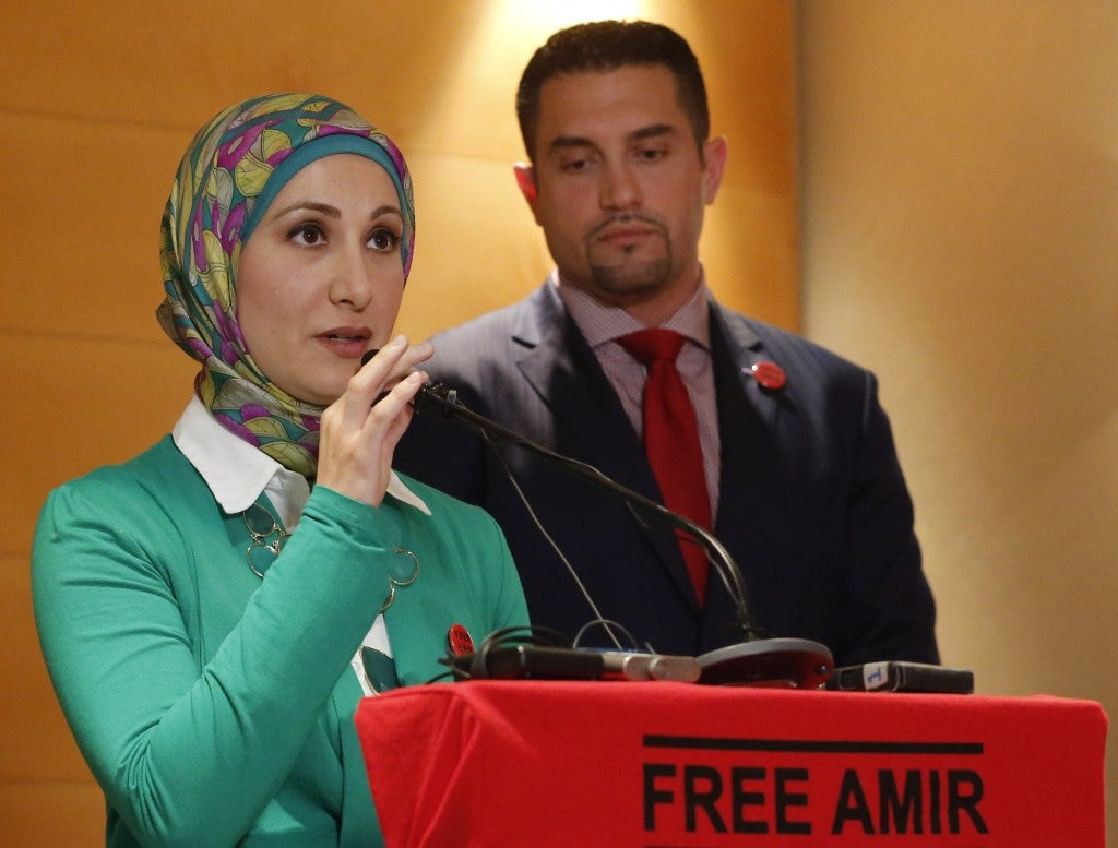 Amir Hekmati's sister, Sarah, discusses her brother's situation at a news conference in Vienna, Austria. (Photo: Leonhard Foeger/Reuters/Newscom)