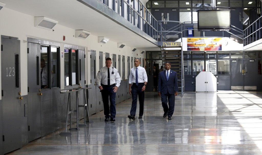 President Barack Obama tours the El Reno Federal Correctional Institution in El Reno, Okla. on July 16, 2015. Earlier that month, Obama commuted the prison sentences of 46 nonviolent federal drug offenders. (Photo: Kevin Lamarque/Reuters/Newscom)