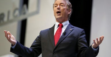 U.S. Republican presidential candidate and Senator Rand Paul speaks during the Heritage Action for America presidential candidate forum in Greenville, South Carolina on September 18, 2015. REUTERS/Chris Keane (Newscom TagID: rtrlseven321024.jpg) [Photo via Newscom]