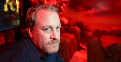Former MLB pitcher, Curt Schilling, poses in a game demonstration room at the Electronic Entertainment Expo. (Photo: DAVID MCNEW/REUTERS/Newscom)