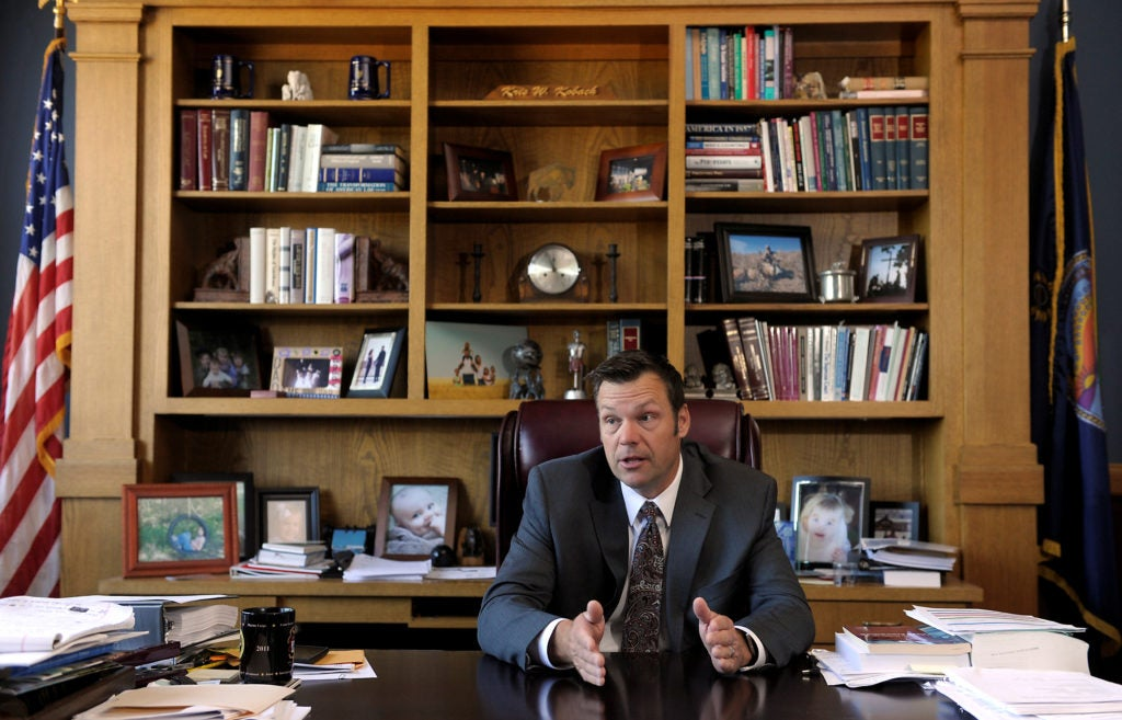 Kansas Secretary of State Kris Kobach has been a conservative leader in trying to impose strict voter identification laws. (Photo: Dave Kaup/Reuters/Newscom)