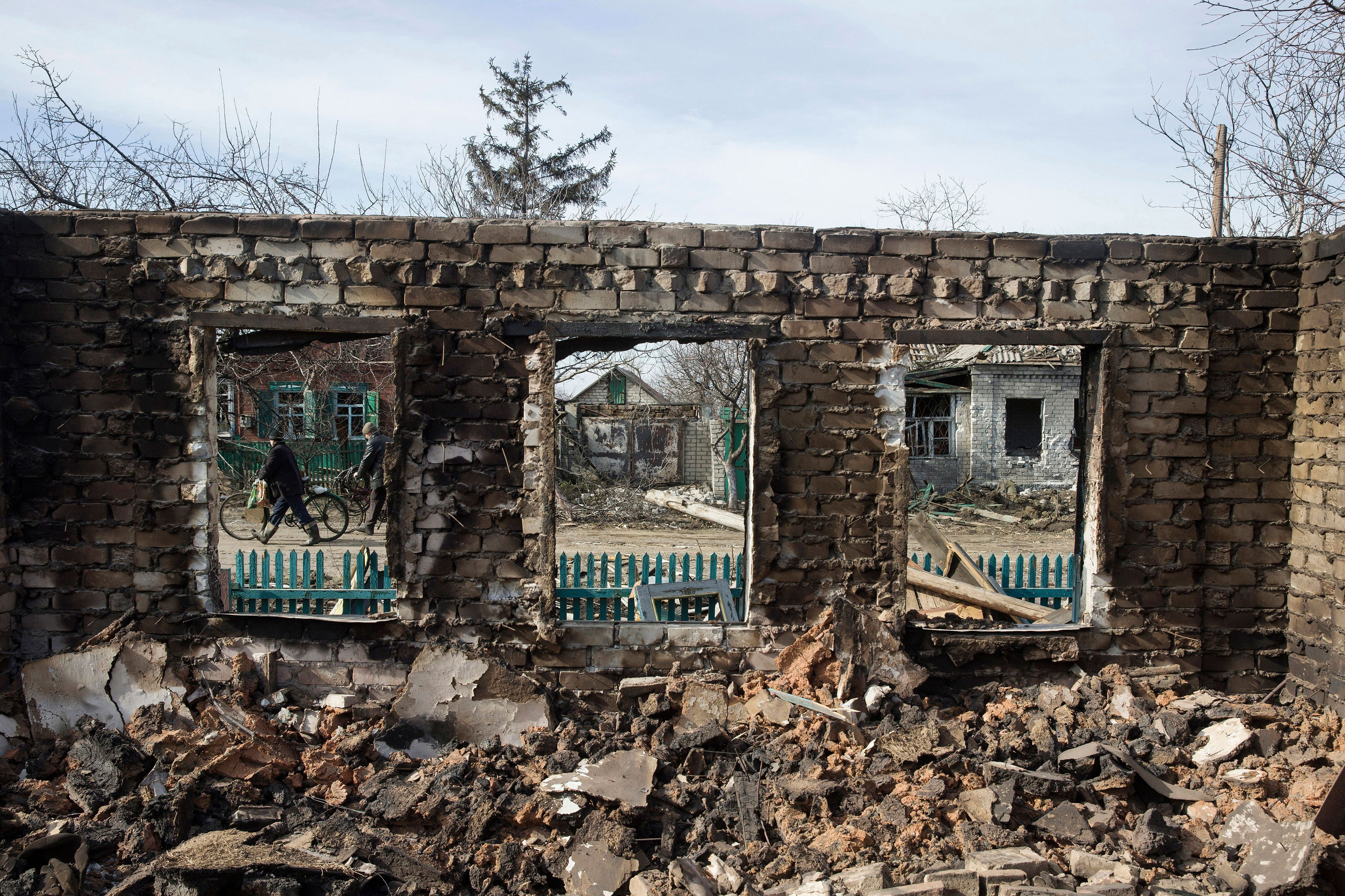 A house damaged by fighting in the town of Debaltseve, Ukraine, Feb. 25, 2015. (Photo: Baz Ratner/Reuters/Newscom)