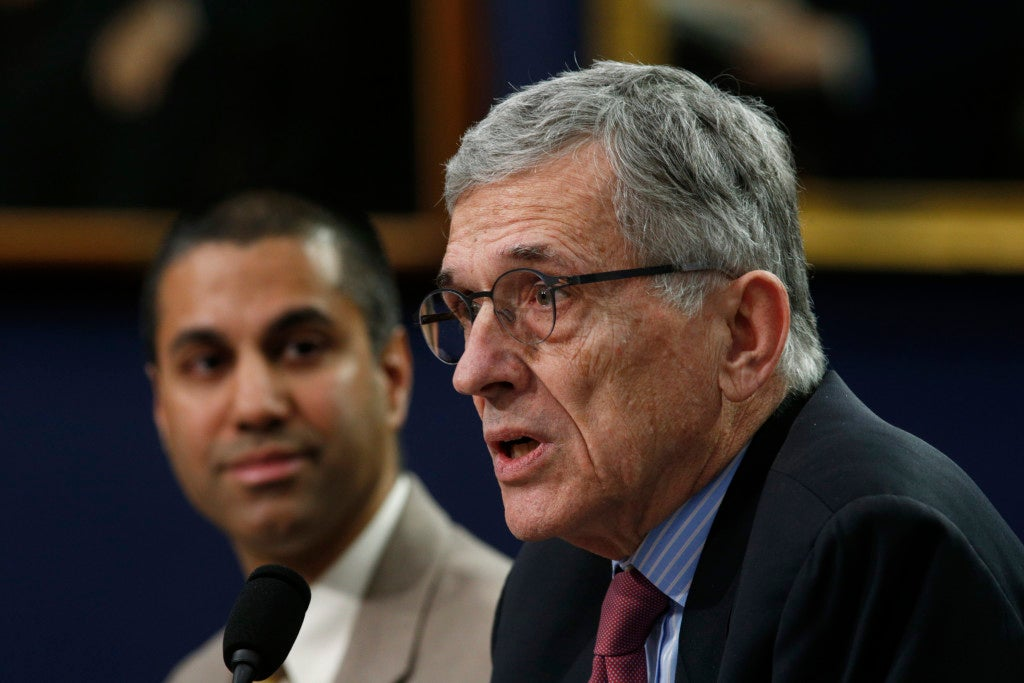 Federal Communications Commission Chairman Tom Wheeler (right), and Commissioner Ajit Pai (left), disagree over the impact of net neutrality. (Photo: Kevin Lamarque/Reuters/Newscom)
