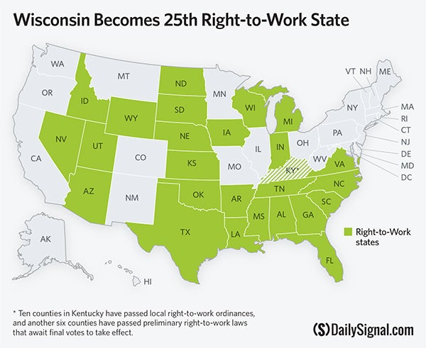 Right To Work States Map 2016.25 States Are Now Right To Work States
