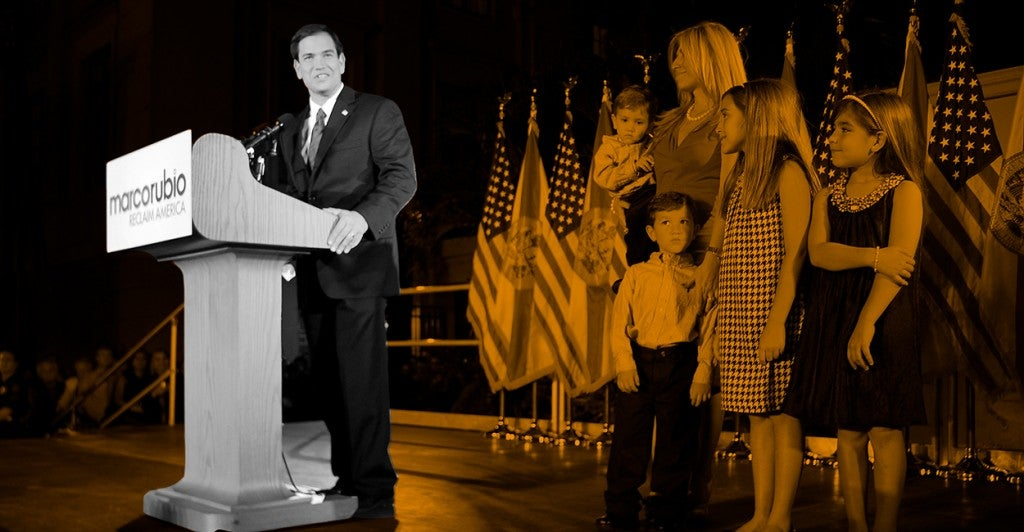 Marco Rubio celebrates with his family at the ''Reclaim America Victory Celebration'' at the Biltmore Hotel in Coral Gables, Nov. 2, 2010. (Photo: Mike Stocker/Sun-Sentinel/Newscom)