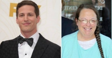 (Photo of Andy Samberg: DVS/Hollywood Press Agency/Newscom and of Kim Davis: Chris Tilley/Reuters/Newscom)