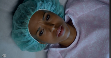 "During the episode, we saw Oliva Pope's face as her abortion was happening. (Screenshot from ABC's ""Scandal"" on Hulu.com)"