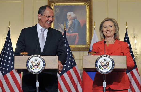 US Secretary of State Hillary Clinton and Russian Foreign Minister Sergei Lavrov speak to reporters on July 13, 2011