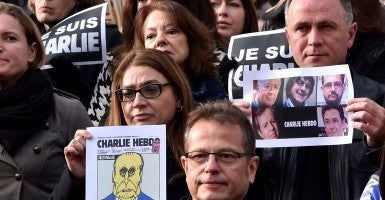 Tributes to the satirical weekly paper Charlie Hebdo. (Photo: Bebert Bruno/Newscom)