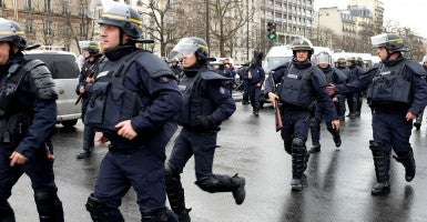 Police forces mobilized for a hostage situation at the Porte de Vincennes. [Photo: Newscom]
