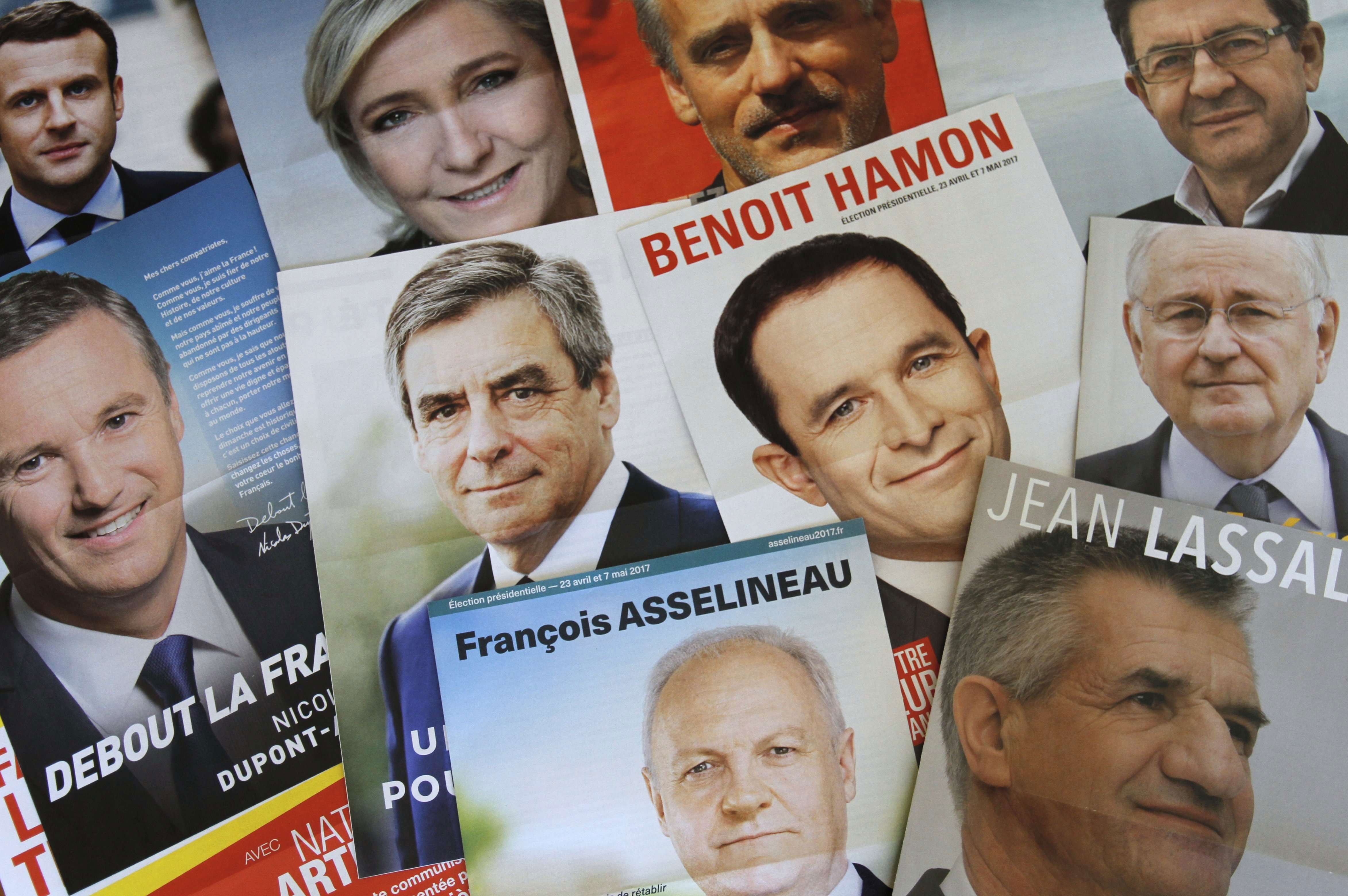 Leaflets of candidates for the French 2017 presidential election. (Photo: Xavier Vila/SIPA/Newscom)