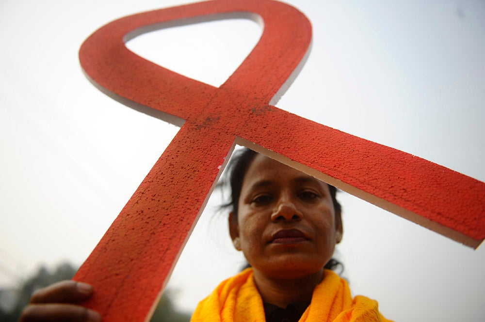 An organized rally  in front of the National Assembly House in Dhaka, Bangladesh during the 'World AIDS Day' celebration. (Photo: Mohammad Asad/Pacific Press/Newscom)
