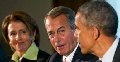 House minority leader Nancy Pelosi, D-Calif.; House speaker John Boehner, R-Ohio; and President Obama in January.