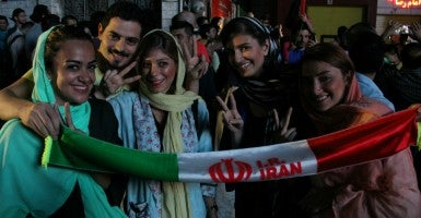 Iranian people celebrate the nuclear agreement between Iran and world powers. (Photo: Rouzbeh Fouladi/NurPhoto/Sipa US/Newscom)