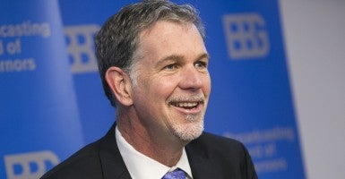 Netflix CEO Reed Hastings participates in a panel discussion during a board meeting of the Broadcasting Board of Governors in Dec. 2013. (Photo: Kristoffer Tripplaar/Newscom)